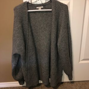 oversized grey cable knit chunky sweater